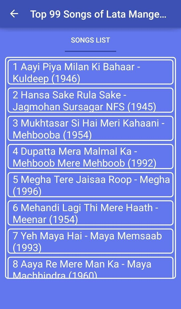Top 99 Song's Lata Mangeshkar for Android - APK Download