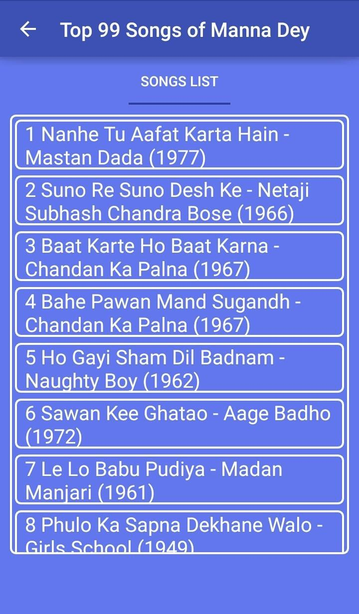 Top 99 Songs of Manna Dey for Android - APK Download
