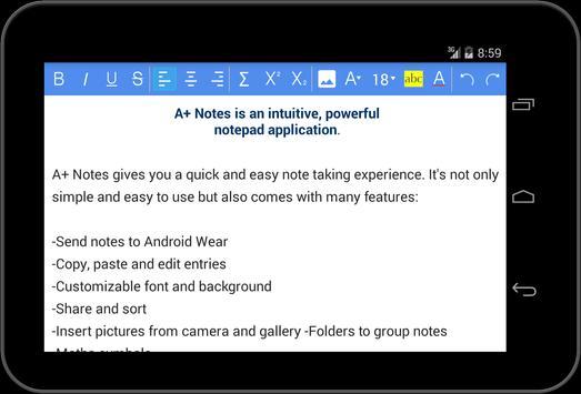 A+ Notes: Free Notepad apk screenshot