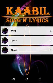 Kaabil Song Lyrics apk screenshot