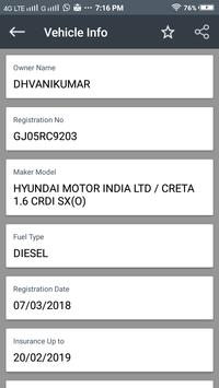 RTO vehicle registration detail screenshot 1