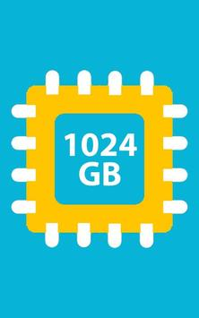 1024 GB Storage Space Cleaner: 1024 GB RAM Booster poster