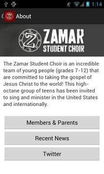 Zamar Student Choir apk screenshot