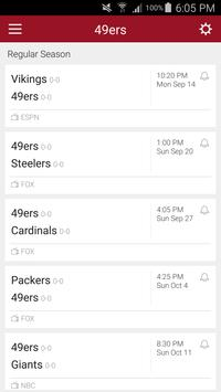 Football Schedule for SF 49ers, Live Scores, Stats poster