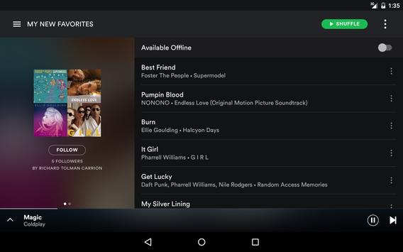 spotify for tablet apk