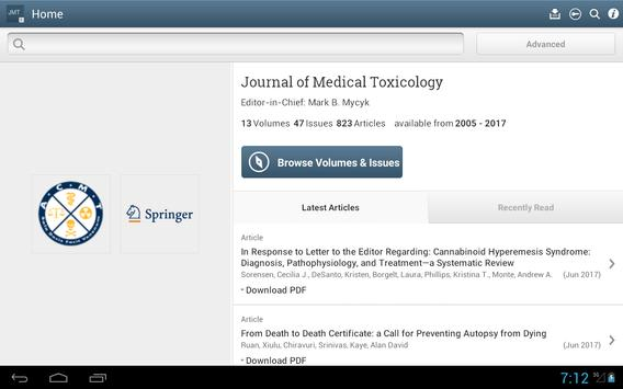 Journal of Medical Toxicology screenshot 6