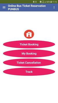 Online Bus Ticket Reservation PUNBUS screenshot 1