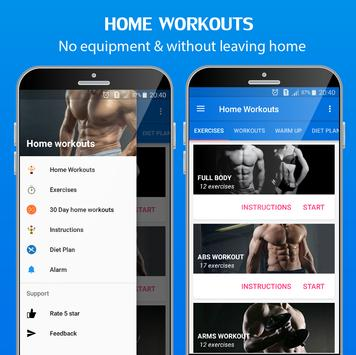 Home Workouts challenge - Fitness bodybuilding poster
