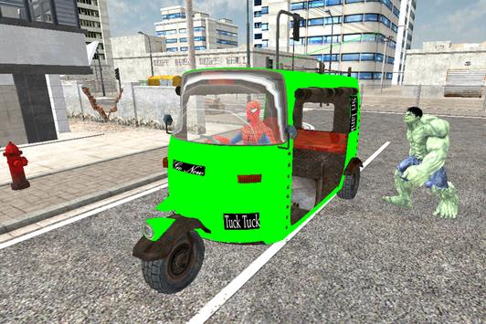 Spider Hero Tuk Tuk Rikshaw drift Parking screenshot 11