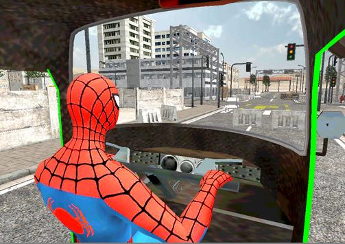 Spider Hero Tuk Tuk Rikshaw drift Parking screenshot 1