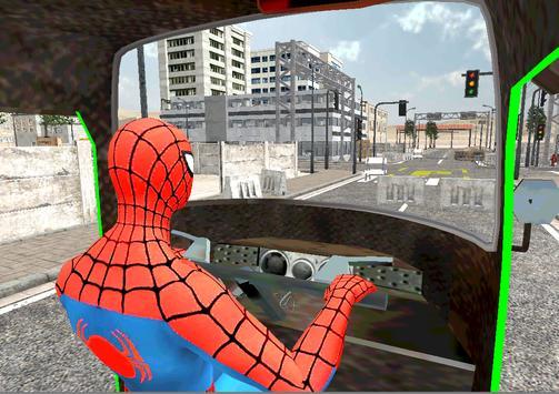 Spider Hero Tuk Tuk Rikshaw drift Parking screenshot 9
