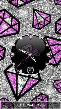 Purple Diamond Clock Live Wallpaper screenshot 3