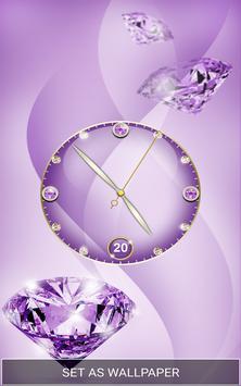 Purple Diamond Clock Live Wallpaper screenshot 5