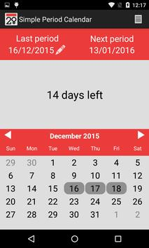 Simple Period Calendar apk screenshot
