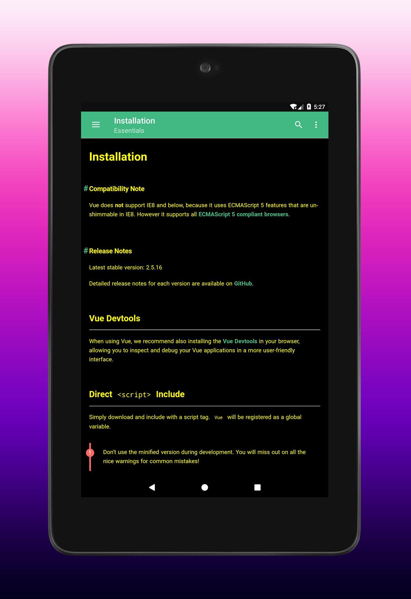 Vue js Full Offline Documentation for Android - APK Download