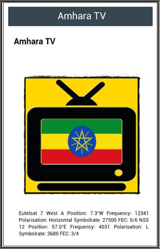 All Ethiopian Tv Channels Frequency