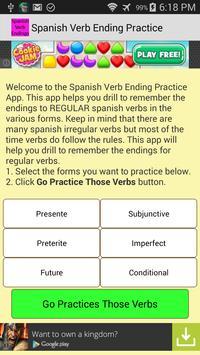 Spanish Verb Ending Practice poster