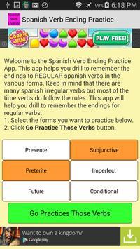 Spanish Verb Ending Practice apk screenshot