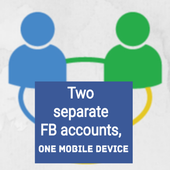TWO separate FB accounts ONE mobile DEVICE icon