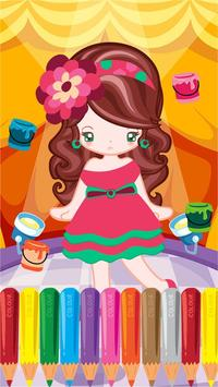 Little Girl Fashion Coloring poster