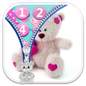 Teddy Bear Lock Screen Zipper icon