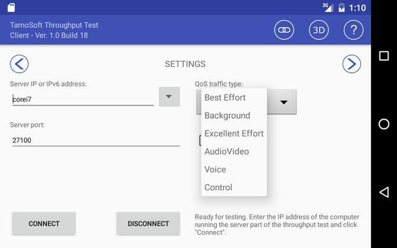 9 Schermata Throughput Test Client