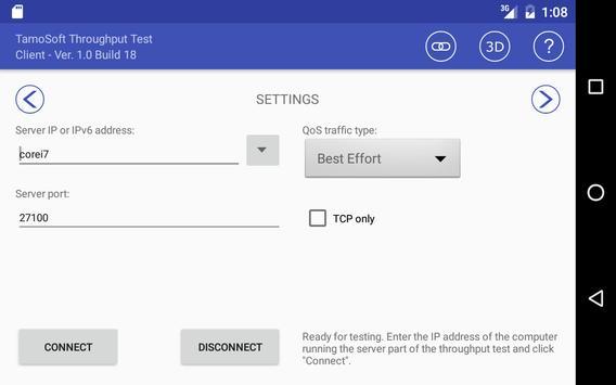 10 Schermata Throughput Test Client