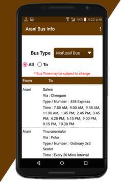 Arani Bus Info screenshot 3