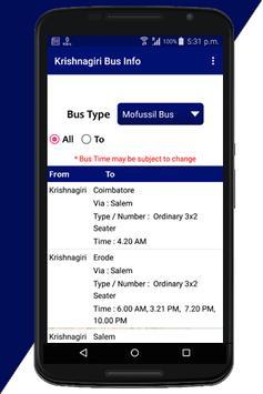 Krishnagiri Bus Info poster
