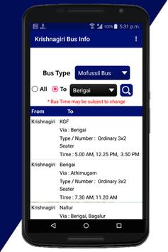 Krishnagiri Bus Info screenshot 1
