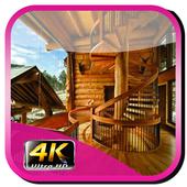 Design minimalist wooden staircase icon