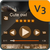 Cute owl Music Player Skin icon