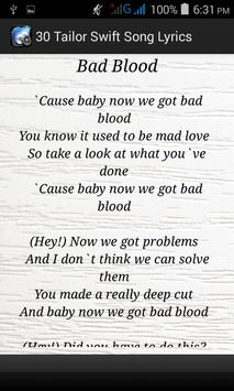 30 Tailor Swift Song Lyrics apk screenshot