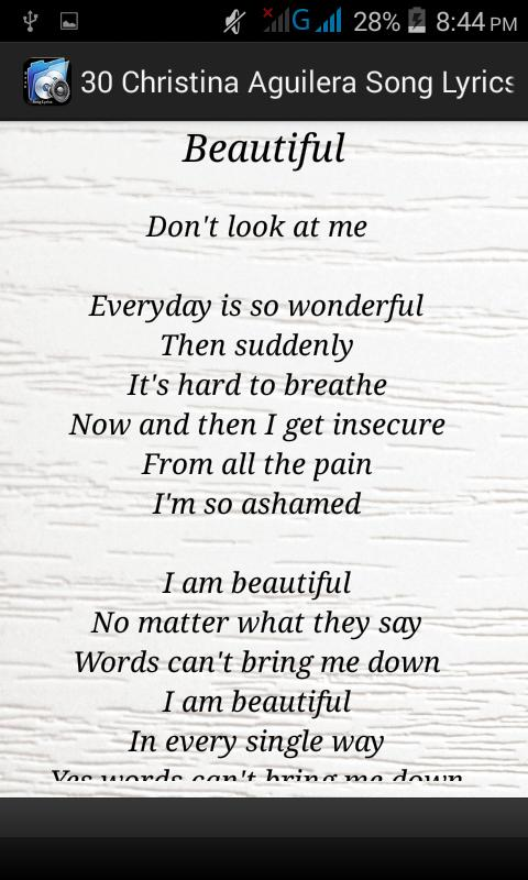 beautiful by christina aguilera lyrics