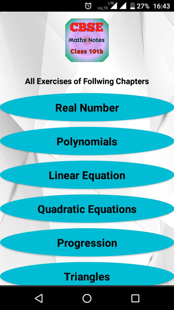 CBSE Class 10th Maths Notes : All Chapter Solution for