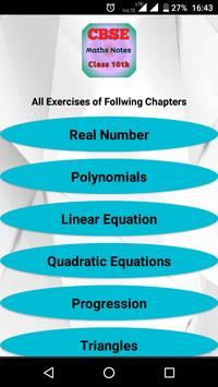 CBSE Class 10th Maths Notes : All Chapter Solution poster