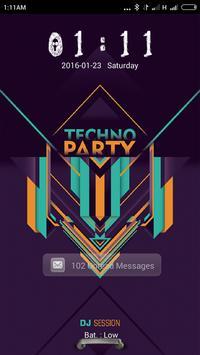 Techno Party Go locker theme poster