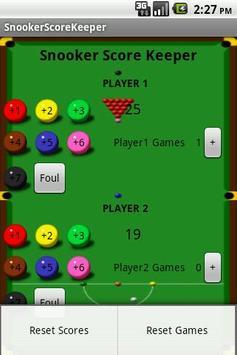 Snooker Score Keeper apk screenshot