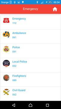 Emergency phone numbers Spain apk screenshot