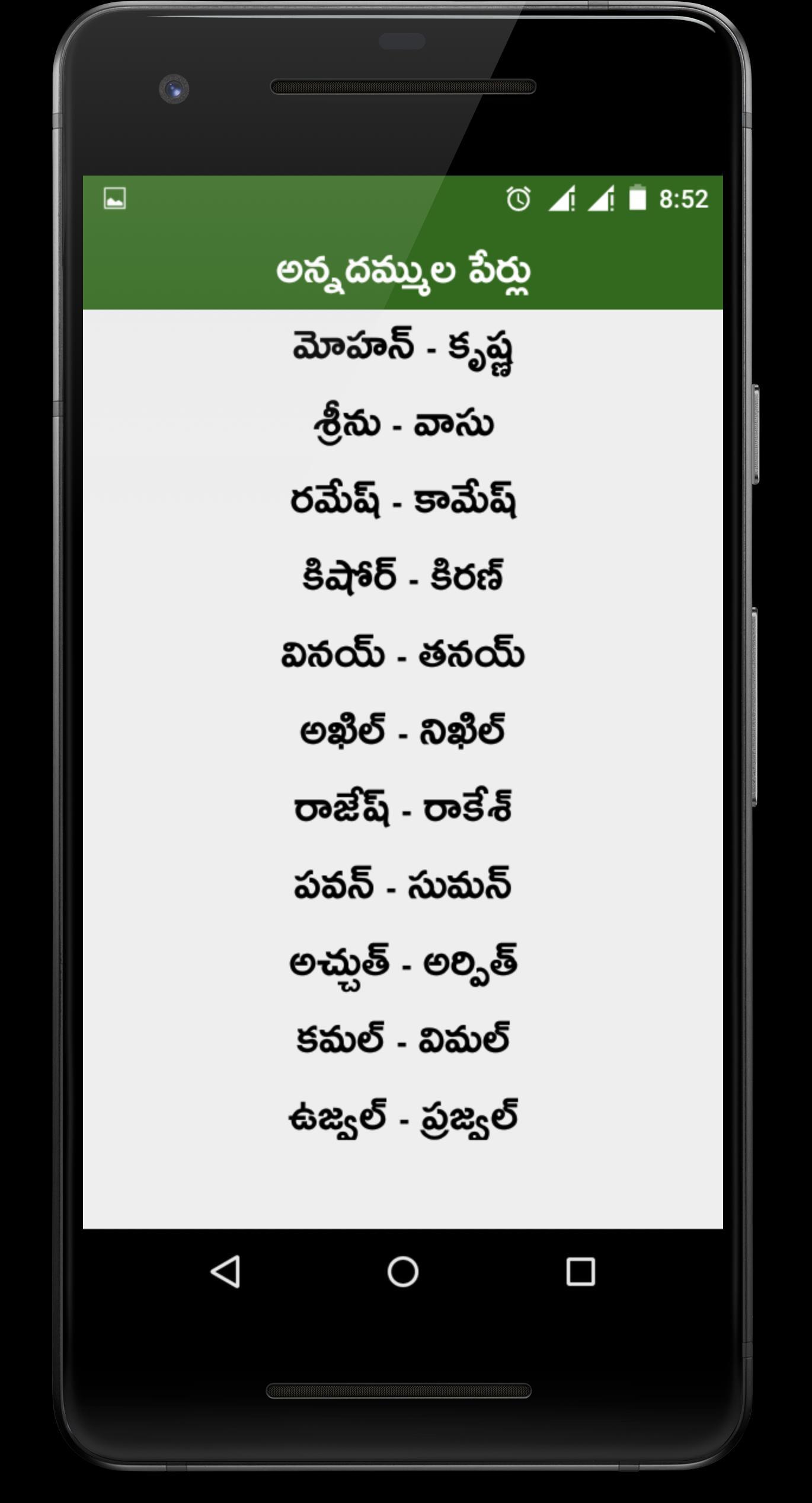Telugu Baby Names Pillala Perlu Telugu for Android - APK