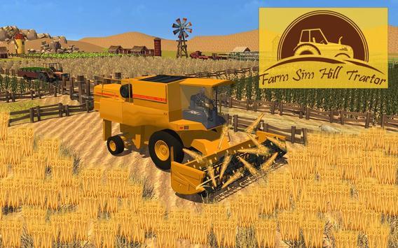 Poster Trattore agricolo collina sim