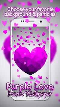 Purple Love Heart Live hd Wallpaper screenshot 3