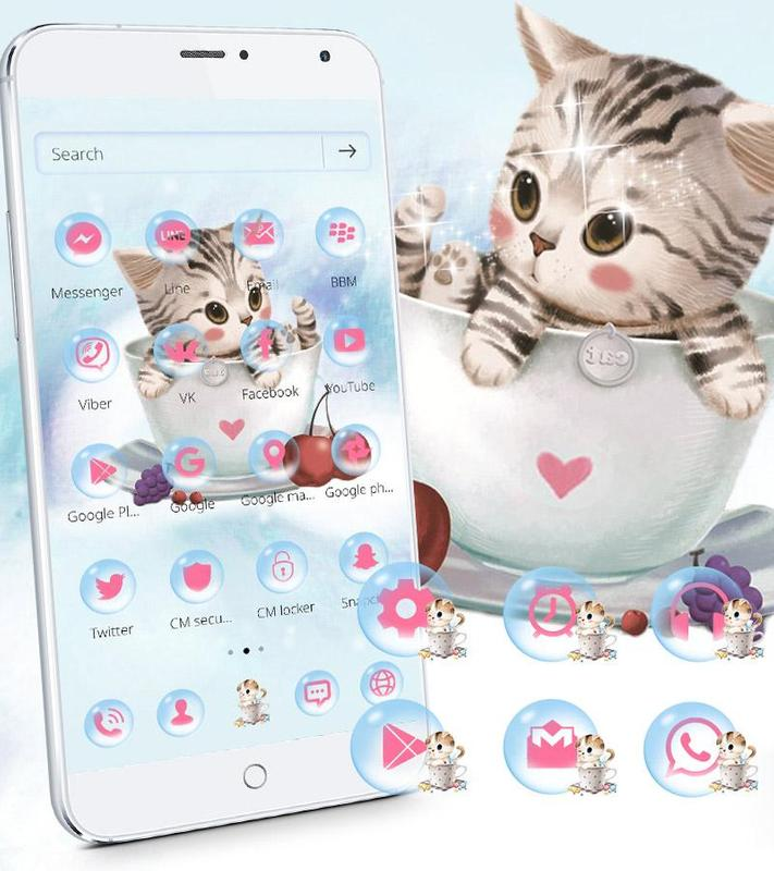 Cute Kitty Theme Lovely Cup Cat Wallpaper For Android Apk Download