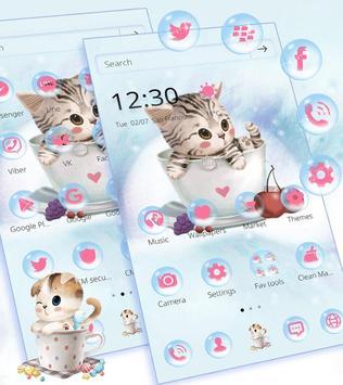 Cute Kitty Theme Lovely Cup Cat Wallpaper Apk Screenshot