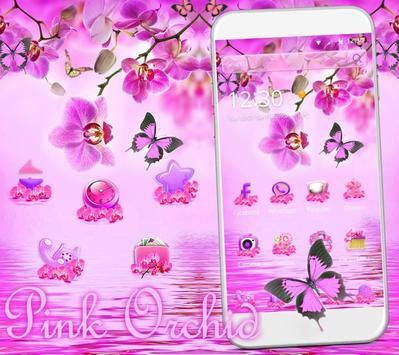 Pink Orchid Theme Wallpaper poster