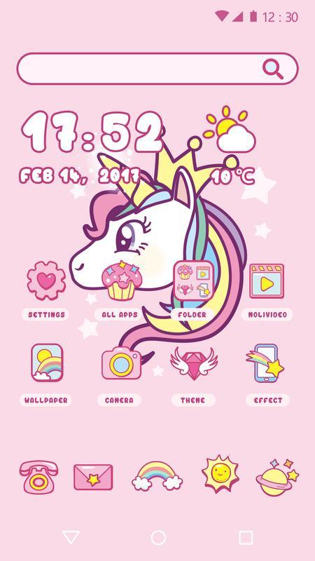 android 用の cartoon theme cute unicorn apk をダウンロード