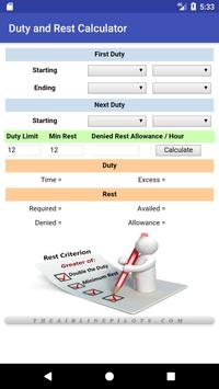 Duty and Rest Calculator poster