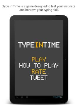 Type In Time: Hard Typing Game apk screenshot