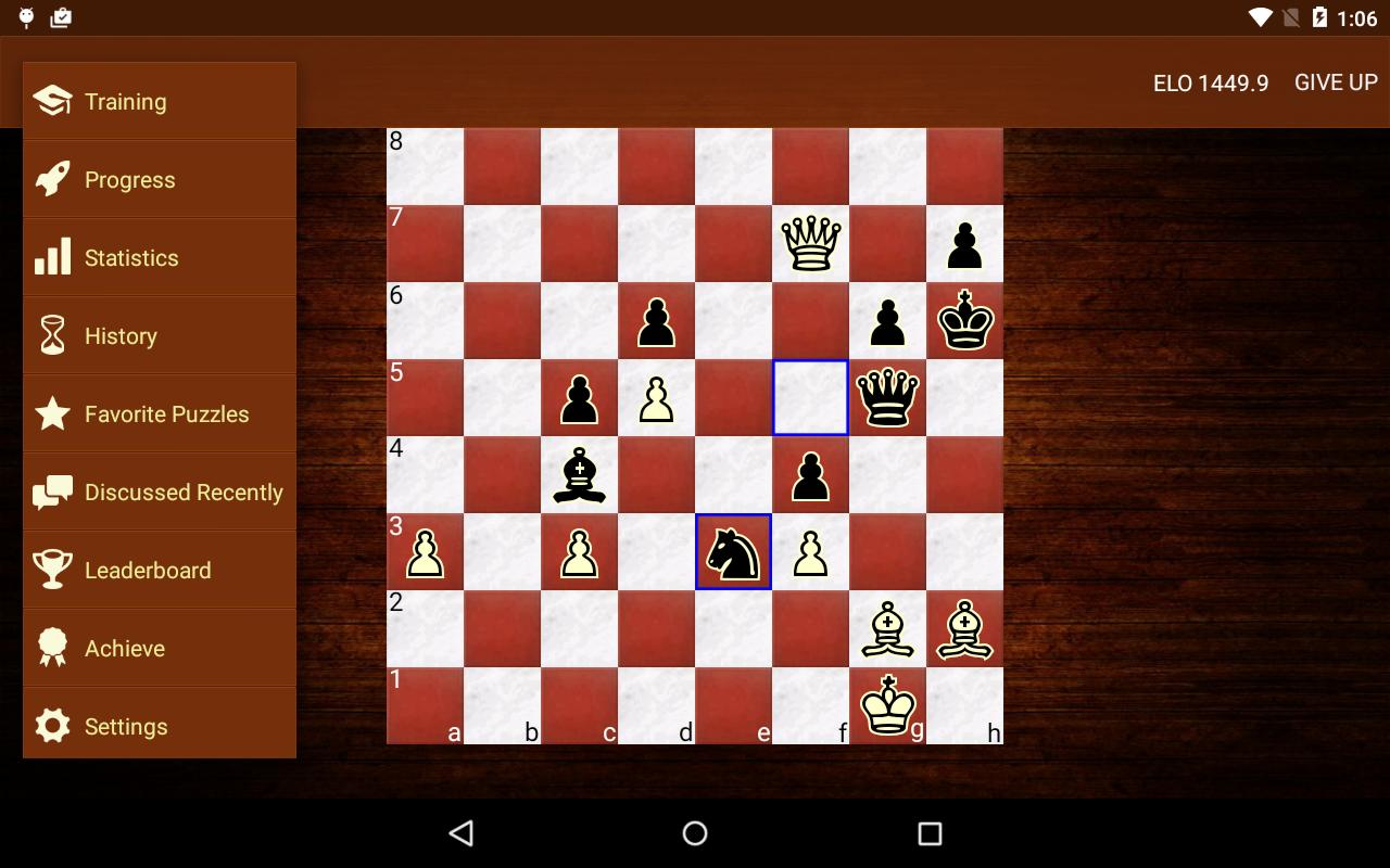 Chess tactic & chess strategy puzzles training. Download free.