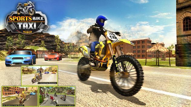 Sports Bike Taxi Sim 3D - Free Taxi Driving Games screenshot 4